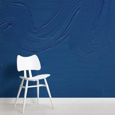 classic blue paint brush stroke texture wallpaper mural