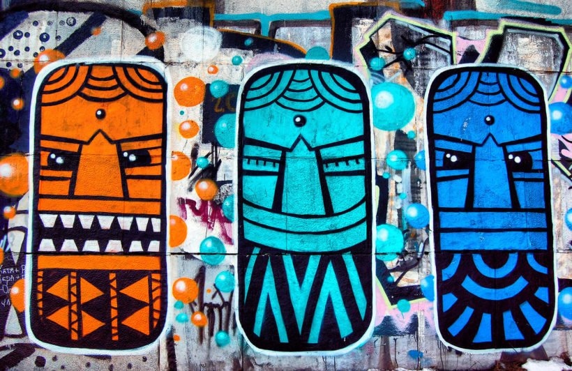 colourful-aztec-masks-graffiti-graffiti-plain-wall-murals