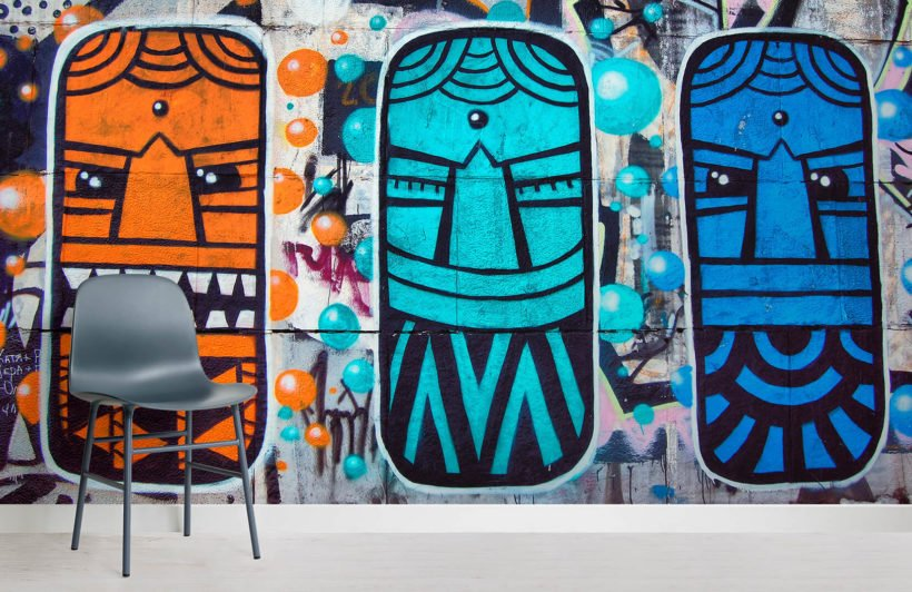 colourful-aztec-masks-graffiti-graffiti-room-wall-murals