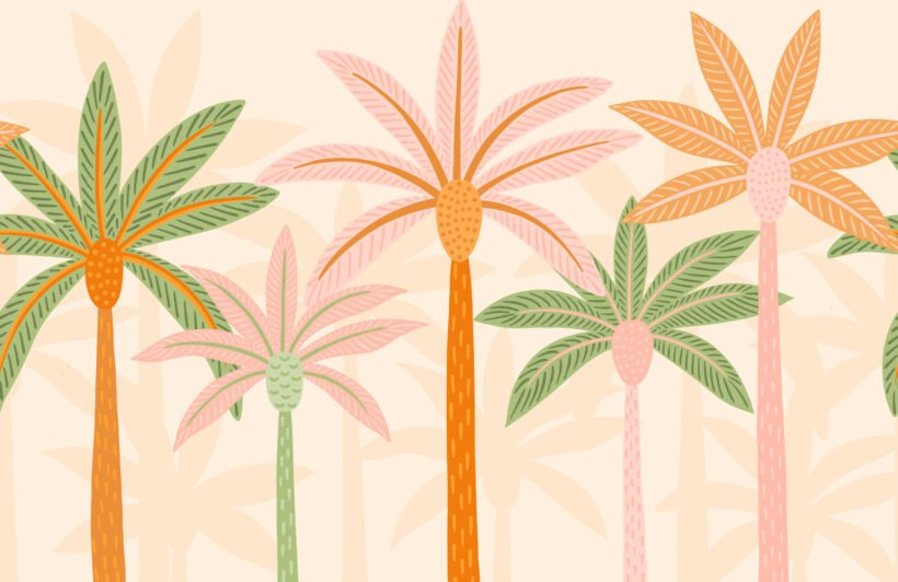 colourful-cartoon-palm-trees-boho-wallpaper-mural