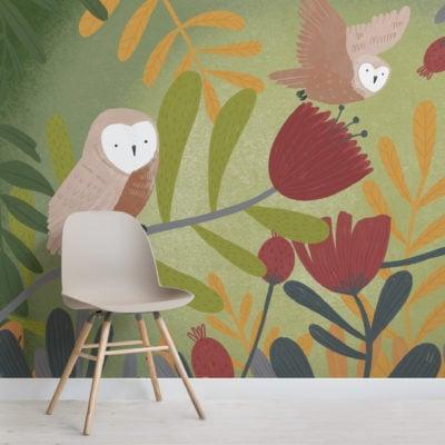 grey owl print pencil sketch wallpaper mural