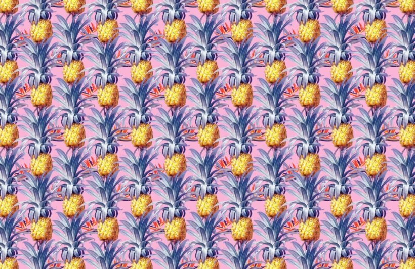 colourful vintage tropical pattern wallpaper mural