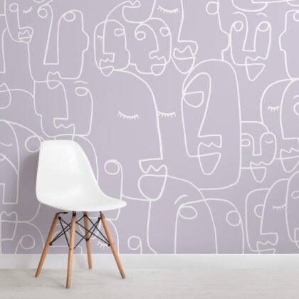Large Lilac Face Line Drawing Wallpaper Mural Image