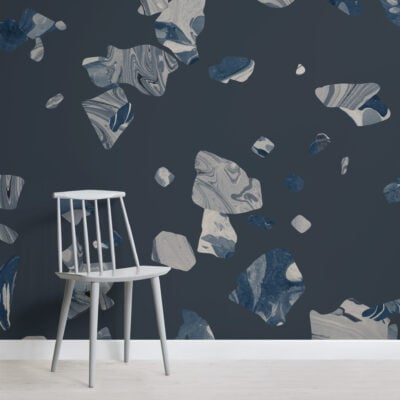 cool-navy-blue-marbled-terrazzo-pattern-wallpaper-mural-Square