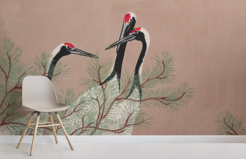 cranes by kamisaka sekka japanese painting wallpaper mural