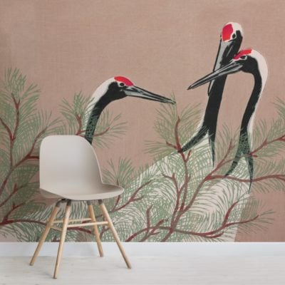 cranes by kamisaka sekka japanese painting wallpaper mural