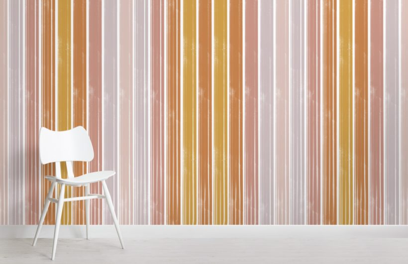 cream and brown pastel textured stripes wallpaper mural
