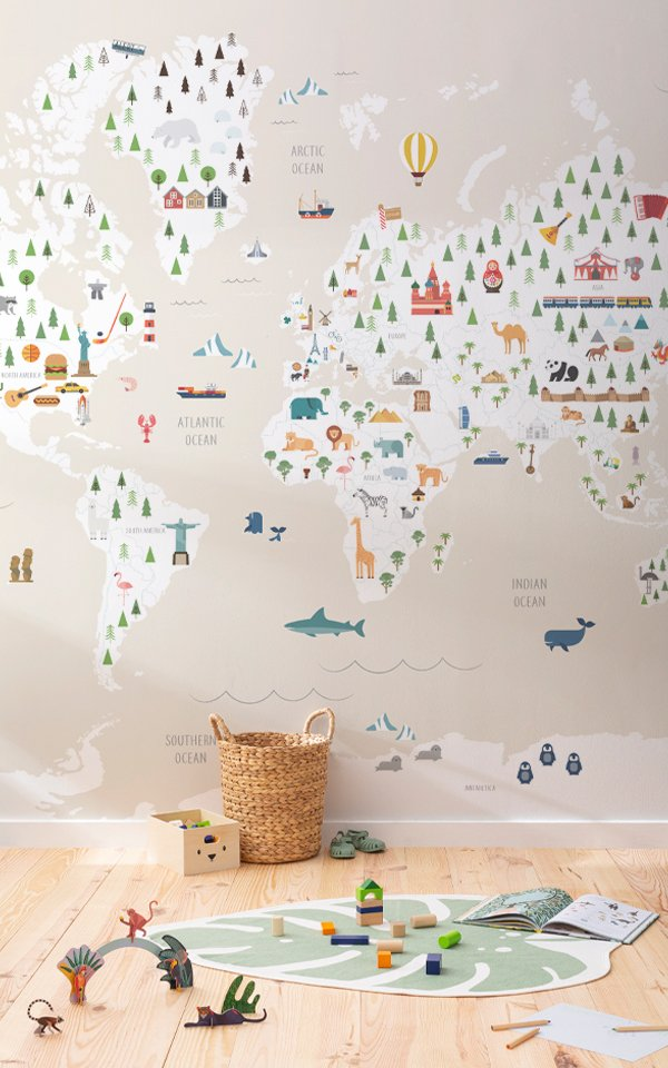 Charming Cream Kids Map Wallpaper Mural Image
