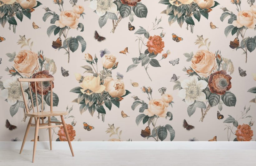 cream & orange vintage floral butterfly wallpaper mural