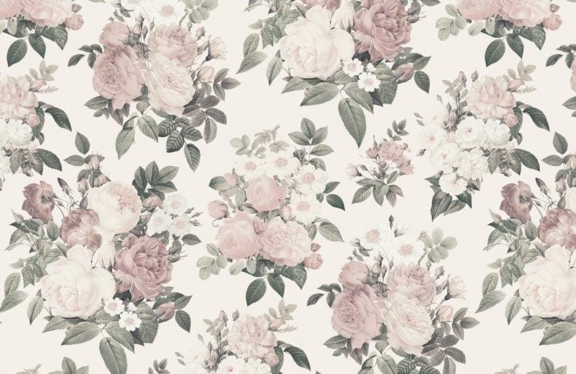 cream & pink rose vintage floral wallpaper mural