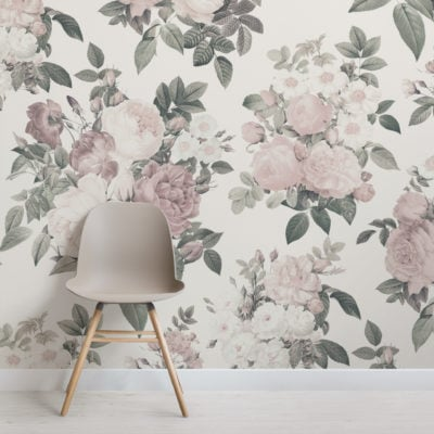 cream & pink rose vintage floral wallpaper mural