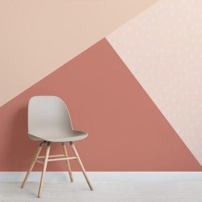 cream red pastel geometric triangle wallpaper mural
