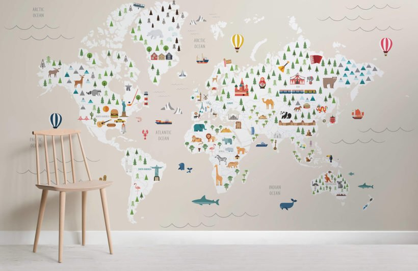 Cream ultimate kids map - maps - room - wall mural