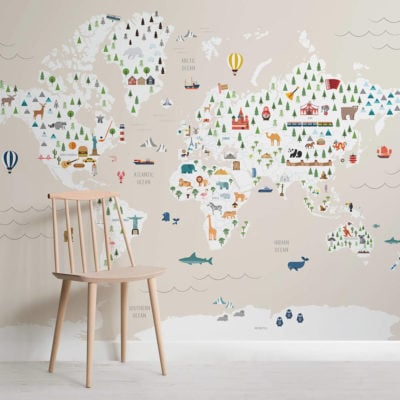 Cream ultimate kids map - maps - square - wall mural