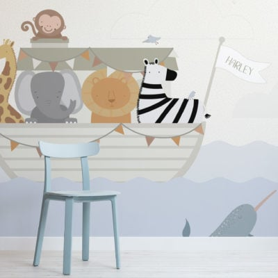 custom name noah's ark kids animal wallpaper mural