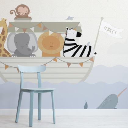 Custom Name Noah's Ark Kids Animal Wallpaper Mural Image