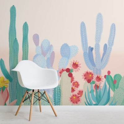 cute colourful cactus flower wallpaper mural