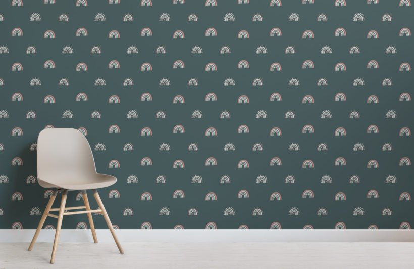 cute colourful hand painted rainbow repeat pattern wallpaper
