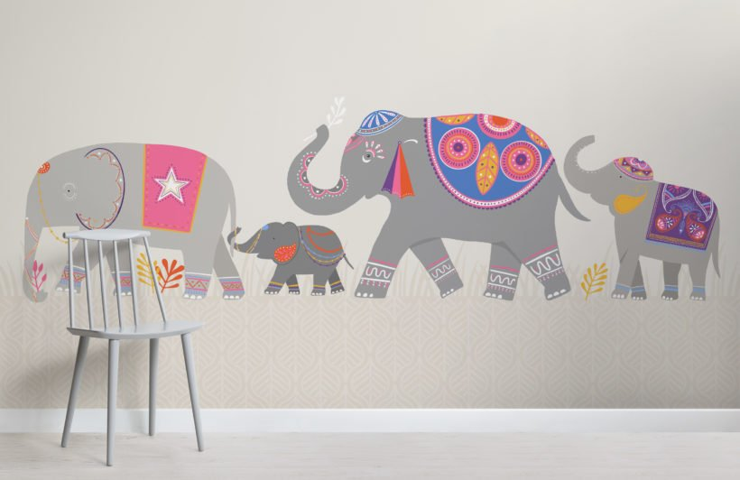 cute colourful indian elephant kids wallpaper mural