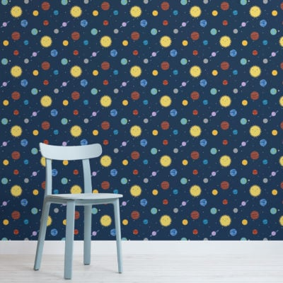 cute kids outer space planets pattern wallpaper mural