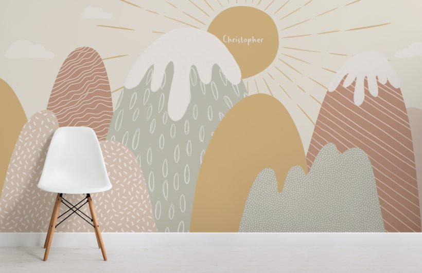 cute & modern custom name mountain kids wallpaper mural