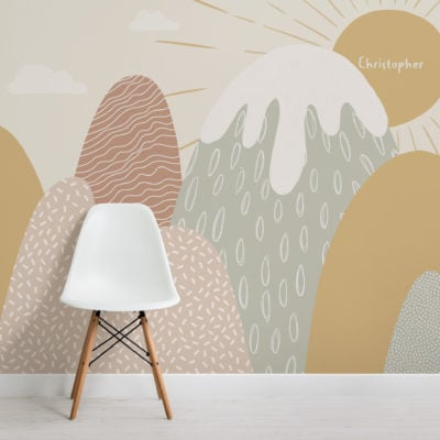 cute & modern custom name mountain kids wallpaper mural
