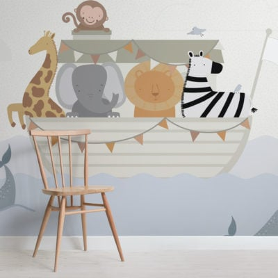 cute noah's ark kids animal wallpaper mural