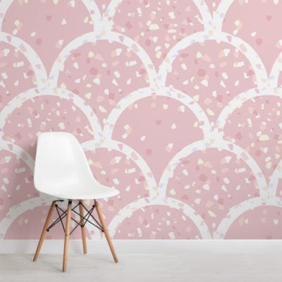 cute pink terrazzo scallop pattern wallpaper mural