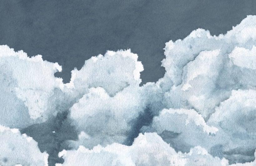 dark blue cloudy watercolour sky wallpaper mural