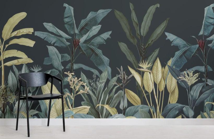 dark blue & green tropical jungle plants wallpaper mural