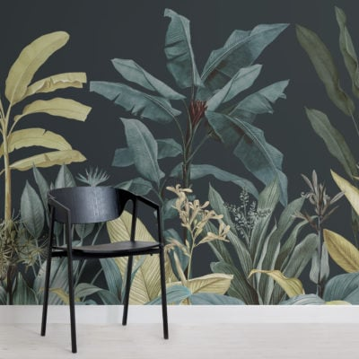 dark blue & green tropical jungle plants wallpaper mural