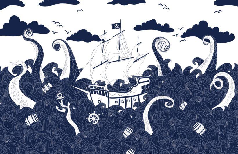 dark blue pirate ship wallpaper mural