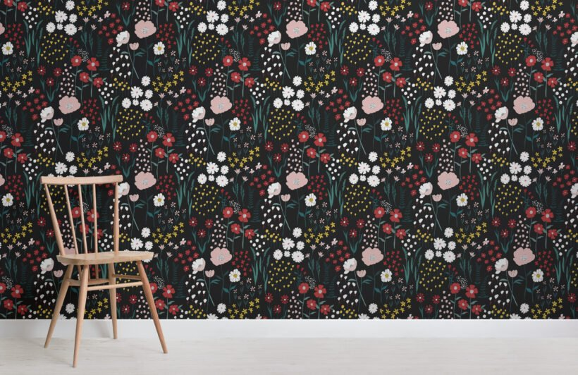 dark-colourful-botanical-flowers-repeat-pattern-wallpaper