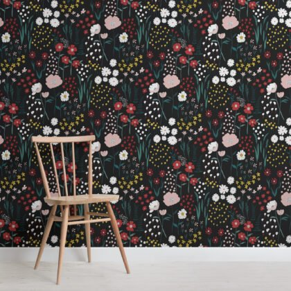 Dark Colorful Botanical Flowers Repeat Pattern Wallpaper Image