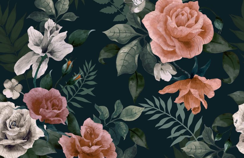 dark-green-and-pink-floral-plain-wall-mural