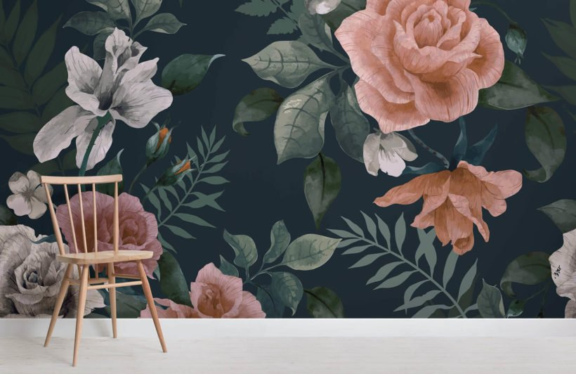 dark-green-and-pink-floral-room-wall-mural