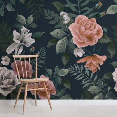 dark-green-and-pink-floral-square-wall-mural