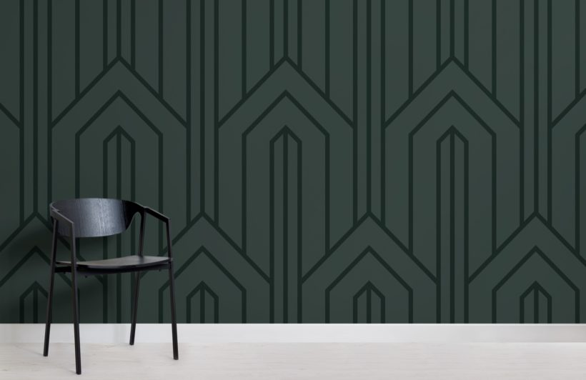 dark green geometric line art deco wallpaper mural