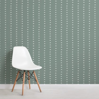 Dark Green Minimal Triangle Repeat Pattern Wallpaper Image