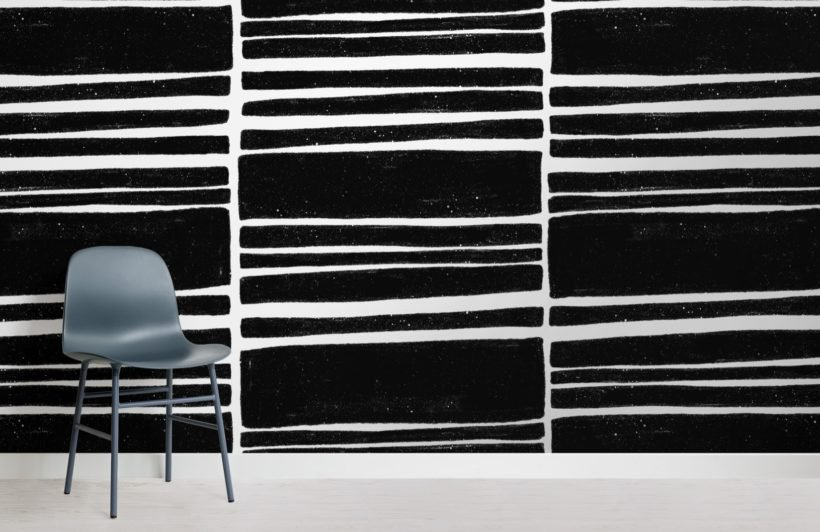 dark grey horizontal textured stripes wallpaper mural
