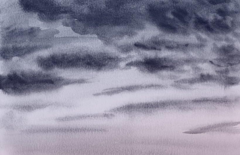 dark night sky watercolour cloud wallpaper mural