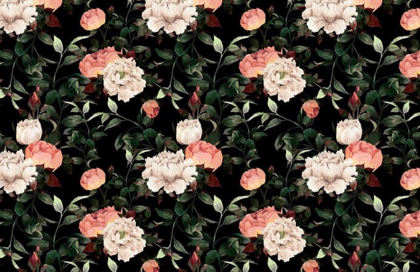 dark-vintage-floral-plain-wall-mural
