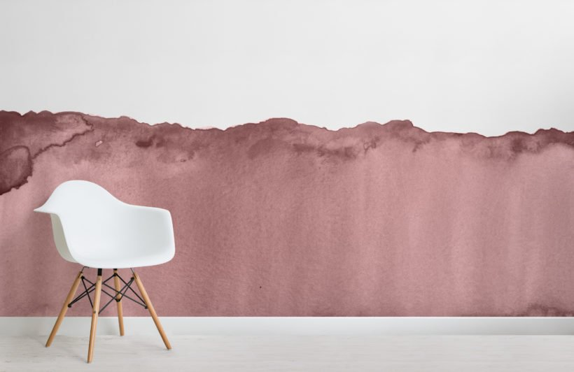 dusky pink wave watercolour wallpaper mural-Room