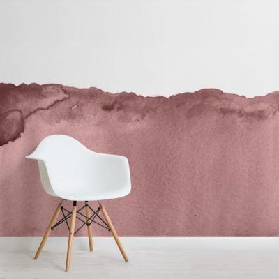 dusky pink wave watercolour wallpaper mural-Square