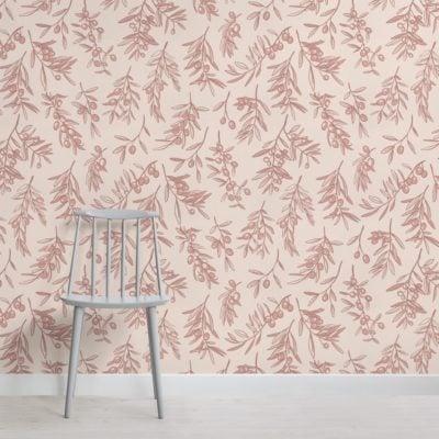 dusty pink ancient greek olive branch pattern wallpaper mural