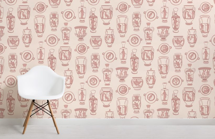 dusty pink ancient greek pottery pattern wallpaper mural