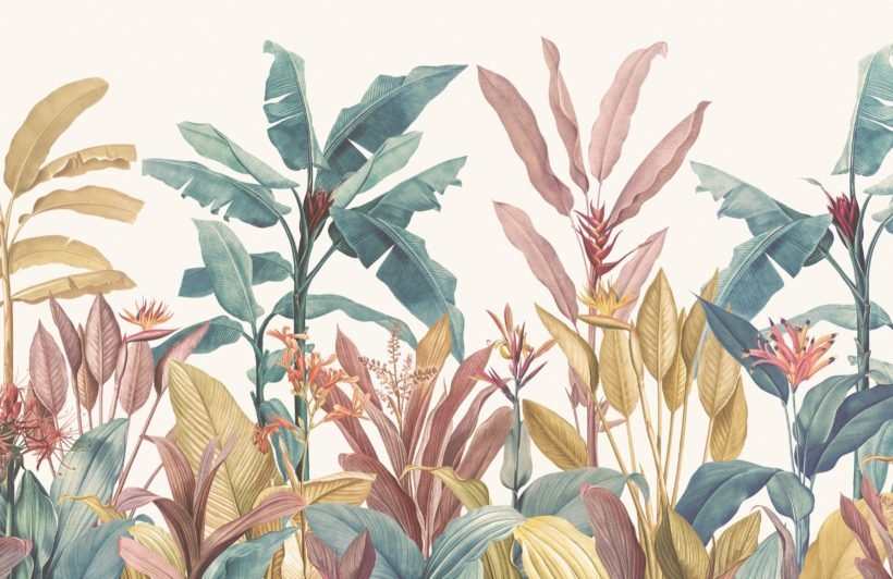 dusty pink and teal vintage tropical minimalist wallpaper mural