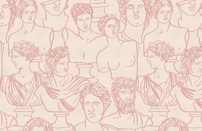 dusty-pink line drawing greek god statue pattern wallpaper mural