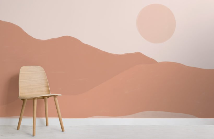 earth tone painted desert landscape wallpaper mural