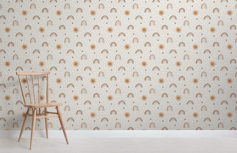 earthy hand-painted rainbow kids repeat pattern wallpaper